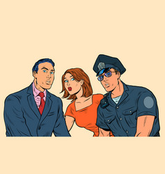 White family and police officer vector