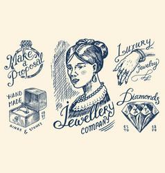 women s jewelry shop badges and logo set luxury vector image