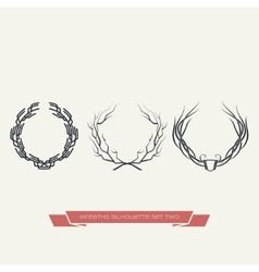 Wreaths Silhouette Set Two vector image