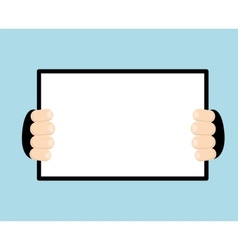 Abstract with hands holding paper sheet vector image