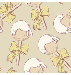 Cake pops with bow seamless pattern vector image