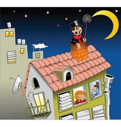 chimney sweep on roof vector image vector image