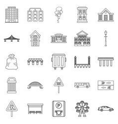 Clean energy icons set outline style vector