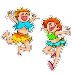 excited kids vector image vector image