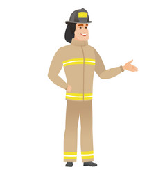 firefighter with arm out in a welcoming gesture vector image vector image