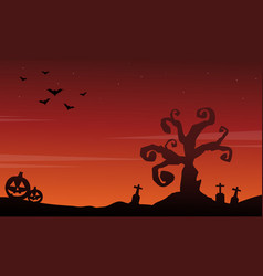 halloween scenery silhouette style background vector image vector image