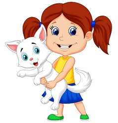 Happy cartoon little girl hugging her pet vector image vector image
