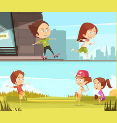 kids sport outdoors horizontal banners vector image vector image