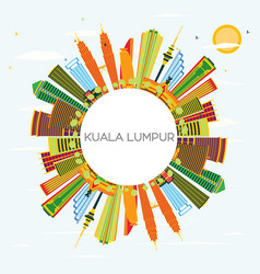 kuala lumpur skyline with color buildings blue vector image