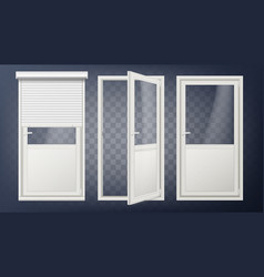 plastic glass door white roller shutter vector image vector image