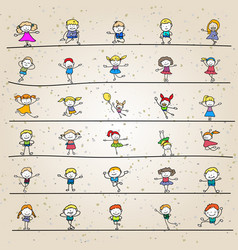 set of hand drawing abstract happy cute kids line vector image vector image