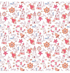simple doodle nautical seamless pattern vector image vector image