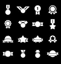 white award medal icons set vector image