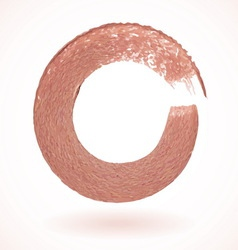 Bronze paintbrush circle frame vector image