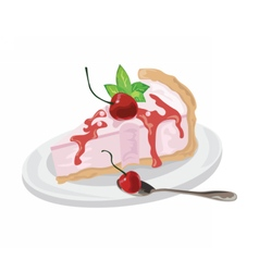 Delicious cake with cherries dessert vector image