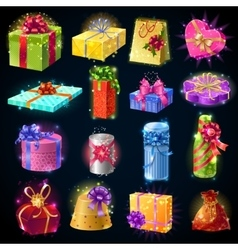 Gift Boxes Icon Set vector image