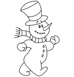 outlined snowman walking vector image