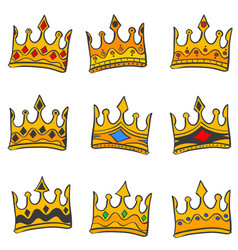 style crown elegant doodle collection vector image vector image