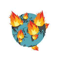 earth on fire planet is burning disaster doomsday vector image vector image