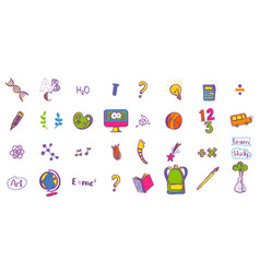 education colored doodle icons vector image