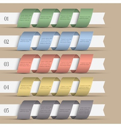 Five modern numbered ribbons banners vector image vector image