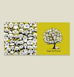 greeting card with panda design vector image vector image