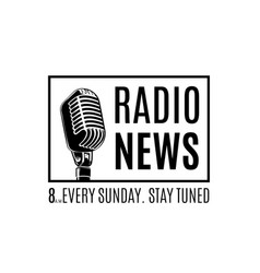 Radio news logo with microphone isolated vector