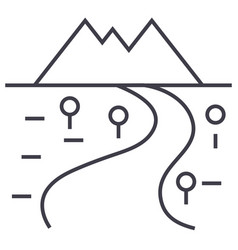 road to mountains line icon sign vector image vector image