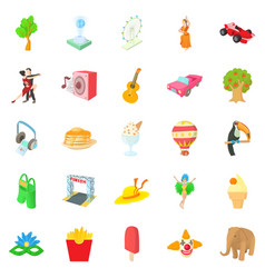 street dance icons set cartoon style vector image