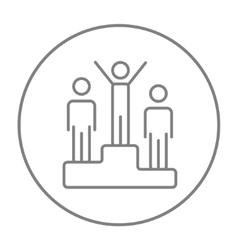 Winners on podium line icon vector image vector image