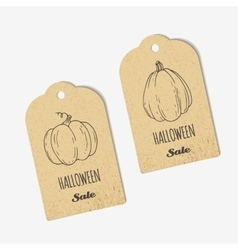 Halloween sale craft tags collection with outline vector image vector image