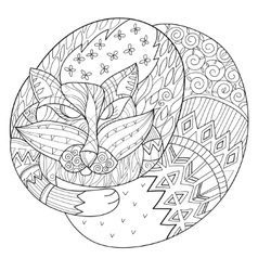 Hand drawn doodle outline fox sleeping decorated vector image vector image