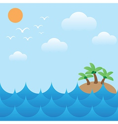 Island in sea wavessunsky and cloud vector