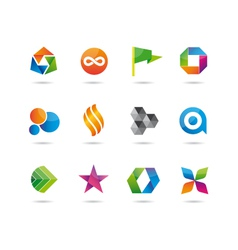 logo and icons glossy set vector image