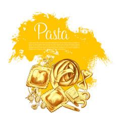 pasta or italian macaroni sketch poster vector image