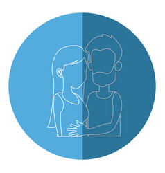 silhouette embracing couple relationship blue icon vector image