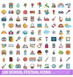 100 school festival icons set cartoon style vector