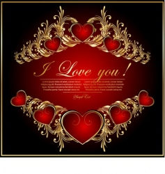 abstract card with hearts vector image