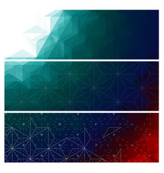 abstract dark triangles banners set vector image