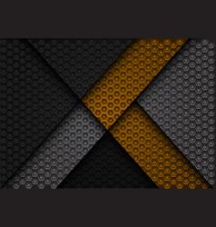 Abstract yellow arrow on dark gray hexagon vector