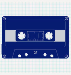 audio tape cassette blue icon on lined paper vector image