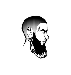 Bearded men face profile hipster head with vector