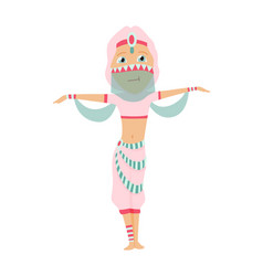 Beautiful eastern girl dancing belly dance vector