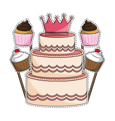 Birthday cake and cupcakes vector