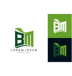 Bm monogram leaf logo natural organic premium vector