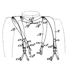 Brace style suspenders are fabric or leather vector