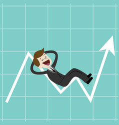 businessman on chart raise the graph to get a lot vector image