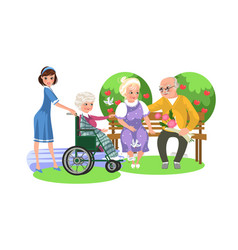 cartoon poster of nurse and old lady in wheelchair vector image