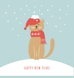 Cat in red hat vector