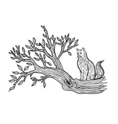 Cat sits on a tree sketch vector